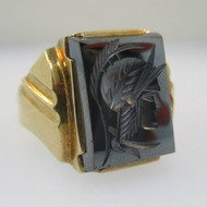 10k Yellow Gold Hematite Intaglio Ring Size 10