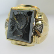 10k Yellow Gold Hematite Intaglio Ring with Single Cut Diamond Accents Size 8 1/2