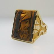 10k Yellow Gold Tigers Eye Intaglio Ring Size 9 1/2