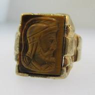 10k Yellow Gold Tigers Eye Intaglio Ring Size 10 1/2