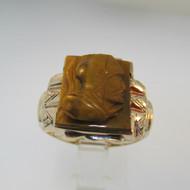10k Yellow Gold Tigers Eye Intaglio Ring Size 8 1/2