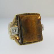 10k Yellow Gold Tigers Eye Intaglio Ring Size 9