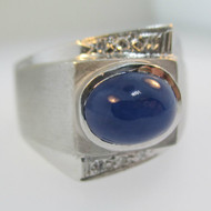 14k White Gold Blue Star Sapphire Ring with 6 Single Cut Diamond Accents Size 10