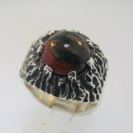 Sterling Silver Orange Moss Agate Ring Size 9.75