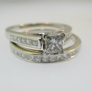 14k White Gold Approx 1/3ct Princess Cut Diamond Ring with Diamond Band Size 6 1/4