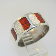 Sterling Silver Orange and White Enamel Ring Band Size 7.5
