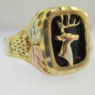 10k and 12k Black Hills Gold with Black Onyx Ring with Buck Deer Accent Size 14 1/4