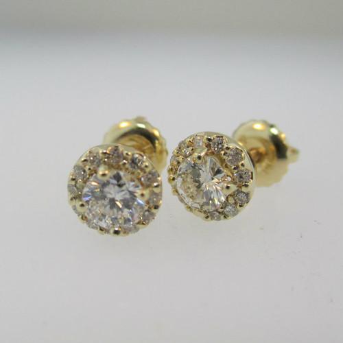 14k Yellow Gold .42ct Round Brilliant Diamond Halo Screw Back Earrings