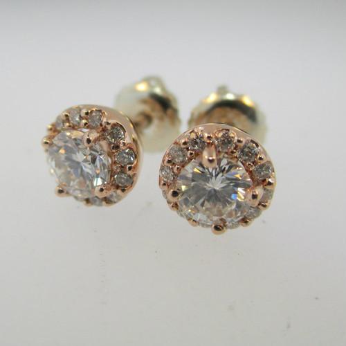 14k Rose Gold .50ct Round Brilliant Diamond Halo Screw Back Earrings