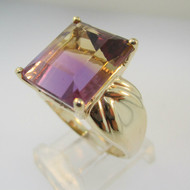 10k Yellow Gold Amertine Ring Size 8