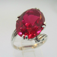 Sterling Silver Vintage Oval Cut Red Stone Ring Size 5.25