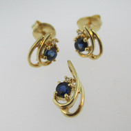 14k Yellow Gold Sapphire Earring and Pendant Set with Diamond Accents