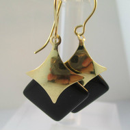 14k Yellow Gold and Square Black Onyx Dangle Earrings