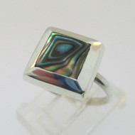 Sterling Silver Abalone Square Ring Size 6.25