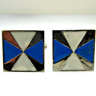 Silver Tone Metal with White and Blue Enamel Cufflinks (300.1768FF CB)