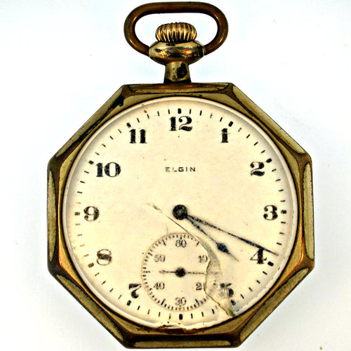 Antique 1920 Elgin 7j 12s Gold Filled Pocket Watch (3005346CB)