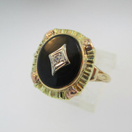 10k Yellow Gold Black Onyx and Diamond Ring with Rose Gold Accents Size 8
