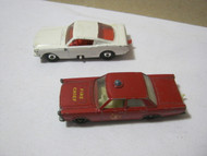 Vintage Matchbox Cars White Mustang & Ford Galaxie Fire Chief