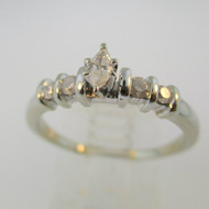 10k White Gold Approx .25ct  Marquise Diamond Ring Size 7 3/4