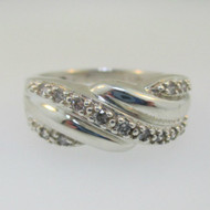 Sterling Silver Diamond Twist Ring Size 8