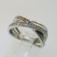 Sterling Silver SUN Black & White Diamond Twist Overlap Ring Size 6