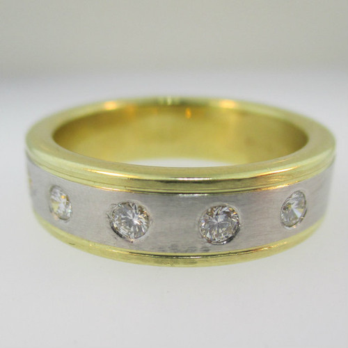 Platinum and 18k Yellow Gold Band with Diamond Accents Size 11