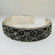 Sterling Silver NF Flower Pattern Cuff Bracelet
