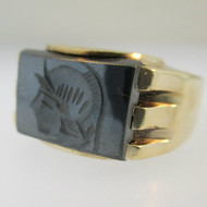 10k Yellow Gold Hematite Warrior Ring Size 10