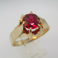 10k Yellow Gold Created Ruby Ring Size 12 3/4