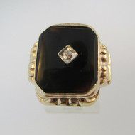 10k Yellow Gold Black Onyx and Diamond Accent Ring Size 9 1/4