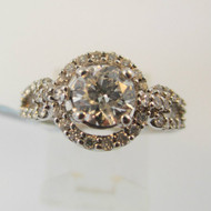14k White Gold Certified .73ct Round Brilliant Cut Diamond Halo Ring Size 5 1/2