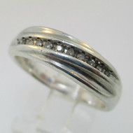 Sterling Silver Mens Diamond Wedding Band Ring Size 9