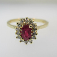 14k Yellow Gold Ruby Ring with Diamond Halo Accents Size 7