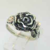 Sterling Silver Rose Flower Ring Size 5.75