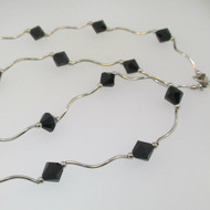 14k White Gold and Black Onyx Necklace