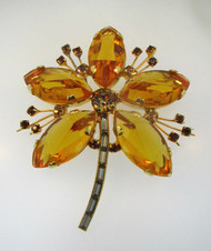 Vintage Gold Tone Citrine Colored Stones Flower Pin Brooch Marked Austria