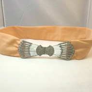 Vintage One of a Kind Homemade Dress Sash Belt Silver Tone Buckle with Rhinestones