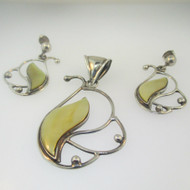 Sterling Silver Mother of Pearl Pendant & Earring Set