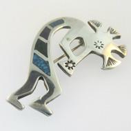 Sterling Silver Kokopelli Turquoise Inlay Pin