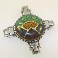 Sterling Silver Carolyn Pollack Mosaic Multi Stone Chip Inlay Sunrise Pendant