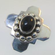 Sterling Silver NF Black Onyx Southwest Style Cross Pendant