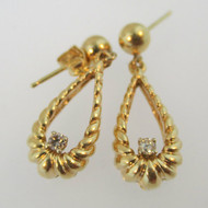 14k Yellow Gold Dangle Earrings with Diamond Accent