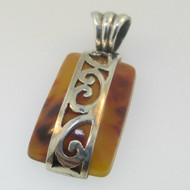 Sterling Silver Rectangle Amber Pendant
