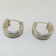 Sterling Silver and 14K Yellow Gold Hinged Back Earrings