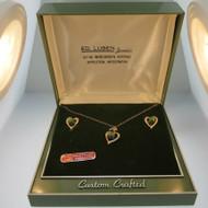 Vtg Hand Engraved Marvel 12k GF Created Green Stones Necklace & Screwback Earrings Set in Box