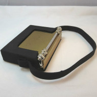 Vintage Ladies Volupte Large Heavy Gold & Silver Tone Makeup Compact in Black Fitted Carrying Pouch