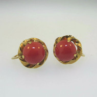 Lovely Vintage Petite Amco Screwback Earrings 10k Yellow Gold with Red Stones