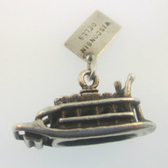 Bell Sterling Silver Vintage Wisconsin Dells Paddle Boat Charm