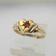 10k Yellow Gold Heart Shaped Ring with Ruby Accents Size 2 1/2