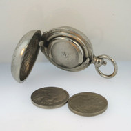 Vintage Silver Tone Metal Coin Box Purse Pocket Watch Design with 2 Buffalo Nickels Inside